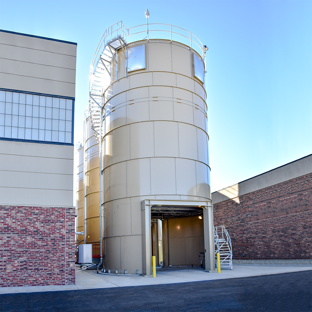 Three silos can store 840 cubic yards of product for up to 65 days.